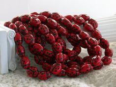 Czech Glass Ladybug Beads Red Lady Bug by BeachCastleBeads on Etsy, $3.79