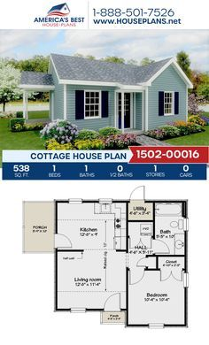 One Bedroom House Plans, Guest House Plans, Small House Floor Plans, Dream House Plans, Small House Plans Under 1000 Sq Ft, Cottage House Plans, Small Cottage Homes, Backyard Cottage, Small House Design