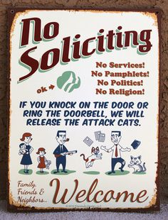 ATTACK CATS Humorous Feline Defense No Soliciting Sign, NEW
