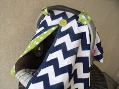 Carseat Canopy Navy Chevron FREESHIPPING by fashionfairytales