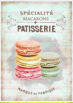 Vintage Cupcake Kuchen french Paris A4 von Doreen`s Bastelstube - Kreativ & Außergewöhnlich auf DaWanda.com