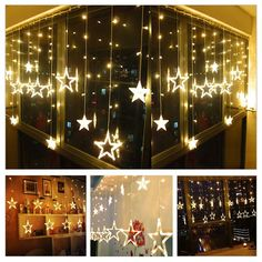 Twinkle Star 12 Stars 138 LED Curtain String Lights, Window Curtain Lights with 8 Flashing Modes Decoration for Christmas, Wedding, Party, Home Decorations (Warm White) Star String Lights, Christmas String Lights, Holiday Lights, Star Lights, Christmas Star, Christmas Wedding, Christmas Deals, Christmas Room, Christmas Crafts