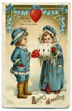 Antique vintage Valentine's Day postcard ~ girl with fur muff illustration by Ellen Clapsaddle. Victorian Valentines, Vintage Valentine Cards, Vintage Greeting Cards, Vintage Ephemera, Vintage Postcards, Photos Vintage, Valentine Cupid, My Funny Valentine, Valentines Art