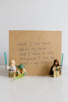 """I love the idea of displaying handwritten notes. Propping them up with the children's toys makes them all inclusive.    (Source: designsponge.com; """"SNEAK PEEK: ADRIAN AND JASON TUAZON-MCCHEYNE"""")"""