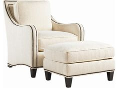 Visually pleasing and positively comfortable, welcome the Koko Chair and Ottoman combination from Royal Kahala into your home.  Offering style in spades, the Koko Chair features graceful shaping and a striking blend of textures to showcase in your home.  The body of the chair can be covered in fabric or featured in raffia, bringing the island influence into your sophisticated décor.  A double row of nailhead trim frames the graceful lines of the of the chair and run along the base of the…