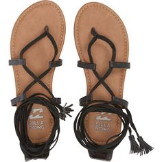 Billabong Women's Around The Sun Sandals ($30) ❤ liked on Polyvore featuring shoes, sandals, footwear, off black, black strappy sandals, strappy gladiator sandals, strap sandals, black strap sandals and tie gladiator sandals