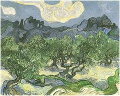Olive Trees with the Alpilles in the Background by Vincent Van Gogh Painting, Oil on Canvas Saint-Rémy: June, 1889