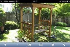A Red Envelope: Bench swing arbor - All For Garden Arbor Bench, Bench Swing, Yard Benches, Home Swing, Hot Tub Gazebo, Pool Designs, Decoration, Red Envelope, Pergola