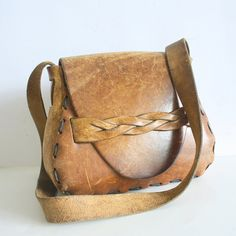 70'S Boho Hippie Hand Tooled Leather shoulder Bag by pascalvintage, $78.00