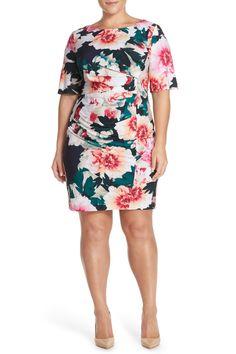'Exploding Floral' Print Pleat Jersey Sheath Dress (Plus Size)