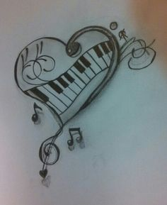 Drawings of music, drawings of hearts, drawing music notes, drawing piano, easy Music Drawings, Pencil Art Drawings, Cute Drawings, Art Sketches, Drawing Music Notes, Drawings Of Hearts, Drawing Piano, Drawing Drawing, Music Tattoos