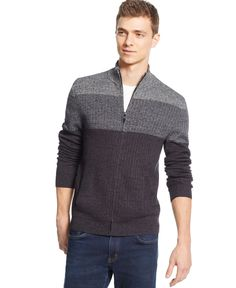 Alfani Colorblocked Full-zip Sweater