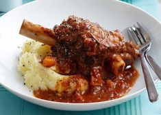 Tender Lamb Shanks in Vegetable Sauce.   Our chef wakes up early to start these in the oven at 5 in the morning, so that they can gently cook throughout the day.  That's how they become so fall-apart-tender and with such a deep flavour.   Dinner's Ready - Hand-cooked meals ready to just heat and eat.  www.dinnersready.com.au Honey Recipes, Lamb Recipes, Top Recipes, Slow Cooker Recipes, Cooking Recipes, Healthy Recipes, Slow Cooking, Crockpot Recipes, Camping Cooking
