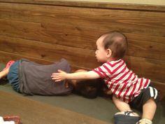 お店でお兄ちゃんが寝ちゃいました!「お兄ちゃん、起きてよ」って弟がトントン!