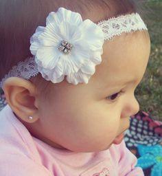 White Silk Flower Headband, Baby Headbands, Newborn Headbands, Infant Headbands, Toddler Headbands, Girls Headbands, Baptism Headband. $6.49, via Etsy.  SOO want this for blessing day!