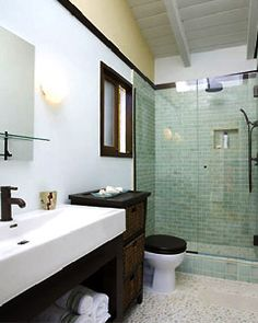 the sink is fun and modern. I love the color scheme, and the green tiling on the big open shower is great. Add in the under sink storage and the chocolate brown accents...i'm sold.
