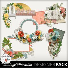 Vintage Vacation, a digital scrapbook collection, was inspired by Victorian posters and advertising cards for luxury spas, ocean cruises, private train car excursions and mountain retreats. The lovely palette is directly from a vintage poster; it is cheerful and romantic at the same time. This kit is not just for vintage photos and heritage buffs; the majority of the elements are timeless, and speak to all eras.
