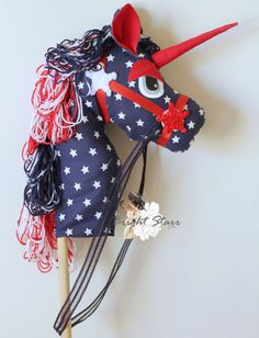 July 4th photo prop Unicorn toy ride on unicorn #unicorn #patriot #hobbyhorse #horse