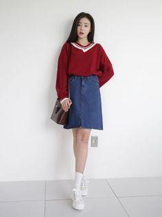 10's trendy style maker en.66girls.com! Denim A-Line Skirt (DGHA) #66girls #kstyle #kfashion #koreanfashion #girlsfashion #teenagegirls #fashionablegirls #dailyoutfit #trendylook #globalshopping