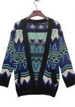 Blue Contrast Black Trim Geometric Tribal Cardigan Sweater $31.13