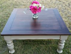 This solid pine table was being thrown away until I got a hold of it.  I reloved the top after sanding it down in General Finishes water based espresso stain.  The body is in GF milk paint Millstone. #generalfinishes #milkpaint #coffeetable #millstone