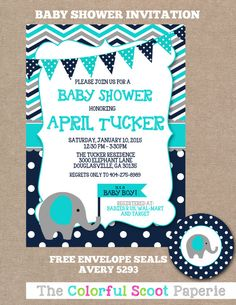 Elephant themed baby shower invites decor food and more baby baby shower invitation elephant blue grey navy chevron boy filmwisefo