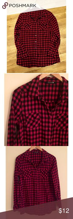 Forever 21 black and red checkered flannel This flannel is perfect for those cold days and is so cozy! It is 100% cotton and in excellent condition. Size medium. Forever 21 Tops Button Down Shirts