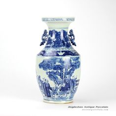 hand paint ancient Chinese people pattern blue white ceramic two handle vase