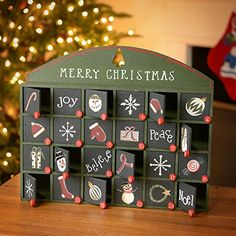 Green Wooden Advent Calendar with Doors from Primitives by Kathy christmas home decor Christmas Countdown, Christmas Home, Christmas Crafts, Merry Christmas, Christmas Decorations, Wooden Advent Calendar, Advent Calendars, Advent Box, Holiday Fun