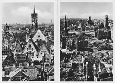 Frankfurt, Germany before and after the devastation of WWII bomb campaigns.
