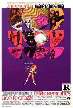 #Sixties | Barbarella, starring Jane Fonda, Milo O'Shea, John Phillip Law, David Hemmings and Ugo Tognazzi, 1968