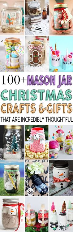A list of more than 100 mason jar DIY ideas that make the perfect gifts for friends and family this Christmas. #christmas #gifts #masonjar #diy
