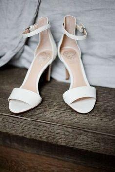 Simple wedding heels - ivory-hued heels for bride {Blue Jar Photography}