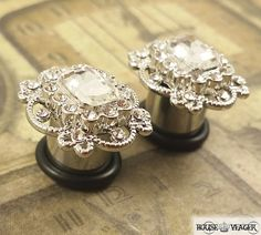 Plugs Gauges - Square Antique Style Crystal Plugs - 4ga (5mm) - 00ga (10mm)