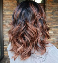 Brown Wavy Hair With Black Roots