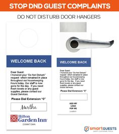 DND Door Hangers notifies guests why their rooms wasn't cleaned to improve communications. Hotel Housekeeping, Good Housekeeping, Universal Studios Hotels, Hotel Safe, Hotel Services, Hotel Branding, Marriott Hotels, Hotel Lobby, Door Hangers