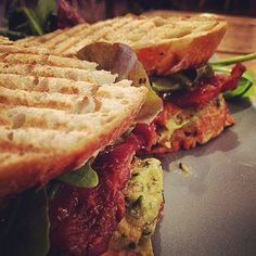 Breakfast bacon sandwich on menu at Takk. Smoked streaky bacon with smashed avocado and tomato and chipotle ketchup. #breakfast #manchesterfood #frostythebutcher #food
