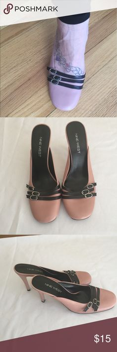 Nine West summer shoes Beautiful Nine West summer shoes!! EUC... still plenty of wear left in them!! Pink and black. Size 7.5m   They have a 4 inch heal but hardly feel it. :) Nine West Shoes Heels