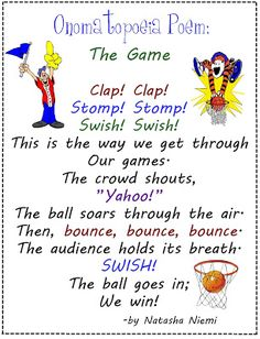 Onomatopoeia poem-The Game 4th Grade Writing, Middle School Writing, Writing Activities, Writing Skills, Writing Ideas, Creative Writing, Student Teaching, Teaching Reading, Onomatopoeia Poems