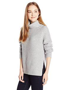 Glamorous Women's Chunky Knit Turtleneck Sweater, Grey Marl, X-Small