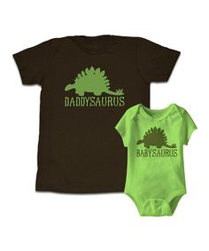 Happy Soul Brown & Key Lime Dinosaur Tee & Bodysuit - Men & Infant | zulily