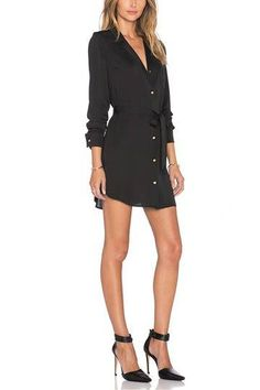 Black Belted Shirt Mini Dress - US$25.95 -YOINS