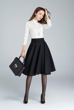 Corduroy Skirt Outfits for Style Mode Outfits, Girly Outfits, Fashion Outfits, Trendy Outfits, Dress Fashion, Midi Flare Skirt, Midi Skater Skirt, Elegantes Outfit, Classic Skirts