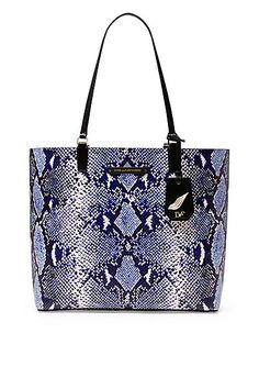 Heritage Print Leather Ready To Go Tote in in Python Medium Blue