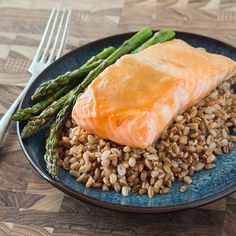 Maple Dijon Glazed Salmon with Farro and Asparagus. Healthy and delicious -- includes gluten-free option.