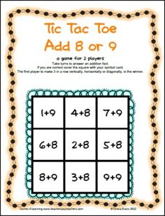 Addition Tic Tac Toe from Games 4 Learning combines the fun of Tic Tac Toe and with practice of basic addition facts. It includes 3 Tic Tac Toe Math Game Boards.
