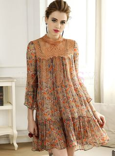 Shop Floral Print Splicing Silk Shift Dress at EZPOPSY. Shift Dresses, Prom Dress, Wedding Dress, Boho Fashion, Fashion Dresses, Womens Fashion, Fashion Design, Casual Dresses, Girls Dresses