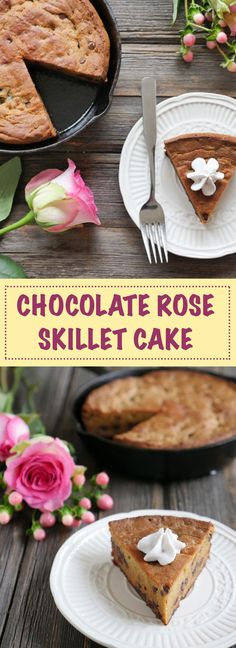 This cake smells like roses!! It's a cardamom and rose flavored cake speckled with chocolate chips. The perfect dessert to share for 2! Recipe by Ashley of MyHeartBeets.com