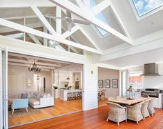 Inspiration ~ We love the look of the exposed trusses & think the skylights are perfectly placed. Well done Phil & Amity your home is… Die Hamptons, Hamptons Style Homes, Beach House Style, Exposed Trusses, Cottage Shabby Chic, Architecture Renovation, Modern Country Style, Custom Built Homes, Outdoor Kitchen Design