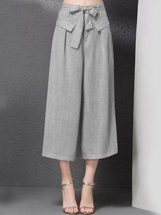 #AdoreWe #StyleWe Wide Leg Pants - Designer YIPINWAN Gray Casual Bow Wide Leg Pant - AdoreWe.com